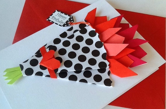 Flower card birthday origami tulips paper flowers card etsy image 0 mightylinksfo