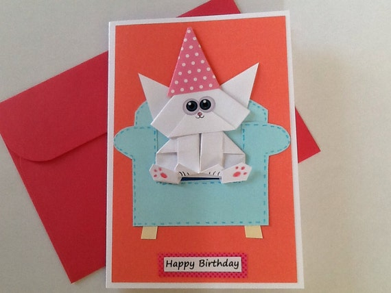 Cat Birthday Card Origami Cat Funny Cat Card Pop Up Card Etsy