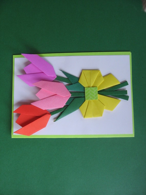 Handmade origami flower card mothers day tulip blank etsy 50 mightylinksfo
