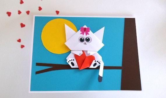 Cat Birthday Card Pop Up Card Valentine Card 3d Origami Etsy