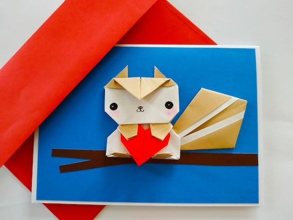 Pull Tab Origami Greeting Card - DIY Birthday Card - Origami Envelope | 428x570