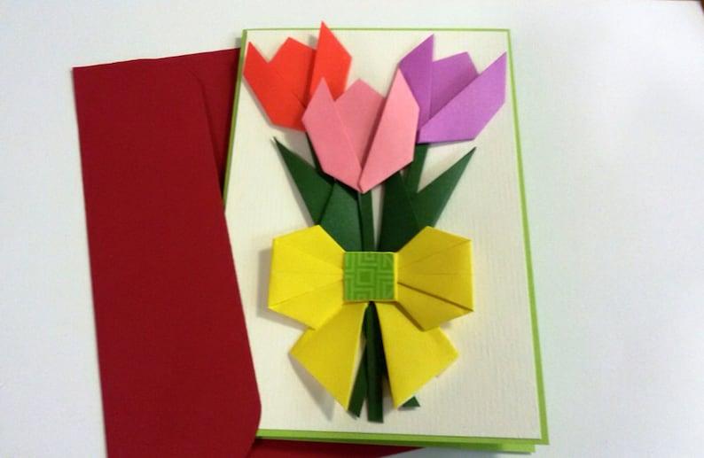 handmade origami flower card mother's day tulip blank  etsy