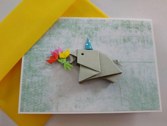 Elephant Birthday Card Origami Pop Up Card Handmade Elephant Etsy