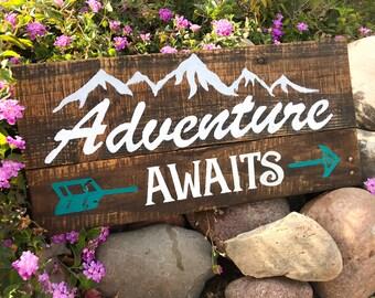 Adventure Awaits   Rustic wood sign   Farmhouse Decor   Nursery Decor   Adventure awaits wooden sign
