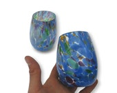 Stemless Wine Glasses in Multi Colored Pattern Hand Blown Glass