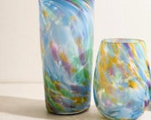 Multi Color Pint and Stemless Wine Glass Set