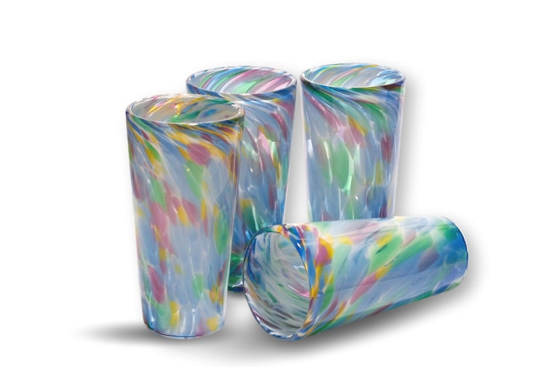 Multi Color Pattern  Hand Blown Pint Glass Set image 0