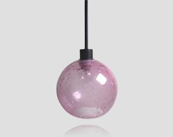 Hyacinth Pink Large Bubble Pendant Globe- Light Fixture Colored Pendant Lamps Kitchen Home Lighting Hand Blown