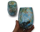 Stemless Wine Glass Set in Sunset Pattern Hand Blown