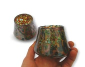 Whiskey Glasses Tumblers Set in Sunset Pattern Hand Blown Glass