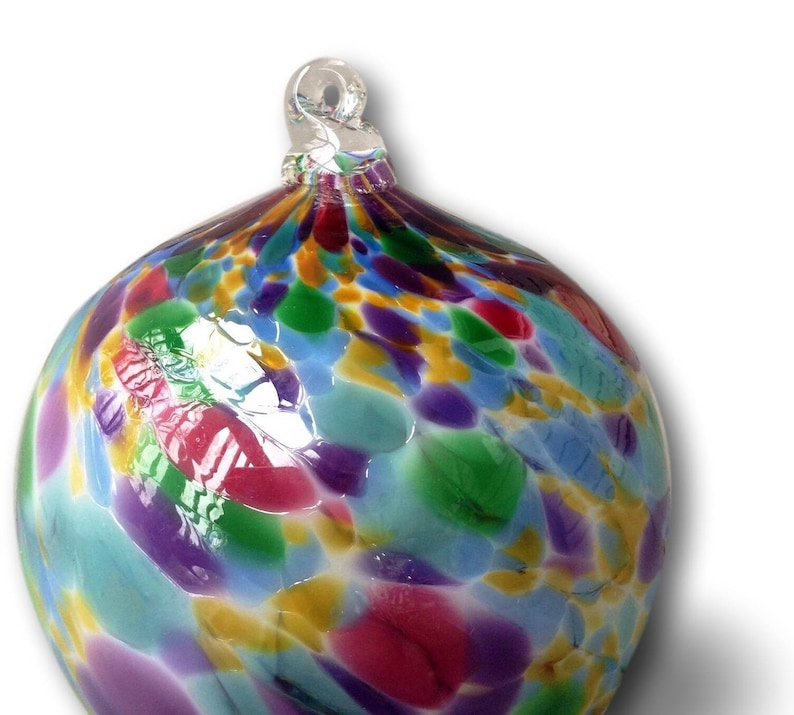 Ornament in Multi-Colored Pattern Hand Blown image 0