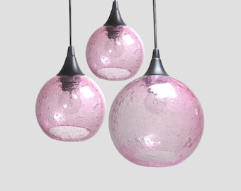 Hyacinth Pink Bubble Cluster - Light Fixtures Colored Pendant Lamps Kitchen Home Lighting Globes