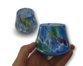 Whiskey Glasses Tumblers Set in Multi Colored Pattern Hand Blown Glass