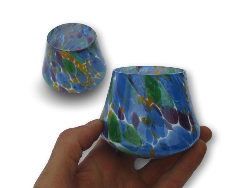 Whiskey Glasses Tumblers Set in Multi Colored Pattern Hand image 0