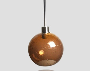 Large Amber Bubble Pendant Globe- Light Fixture Colored Pendant Lamps Kitchen Home Lighting Hand BlownGlobe