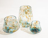 Sunset Hand Blown Set of 3! Whiskey,Shot, and Stemless