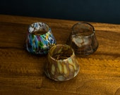 Whiskey SET of 3 Mix Hand Blown , Sunrise, Sunset, and Multi Colored Glasses Gift Set