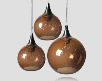 Amber Bubble Cluster - Light Fixtures Colored Pendant Lamps Kitchen Home Lighting Globes