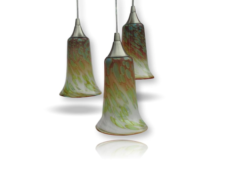 Accent Pendant Trio in Sunrise Colors Hand Blown Lighting Polished Nickel
