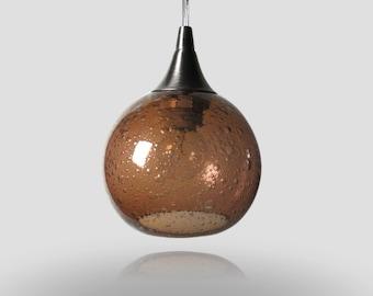Small Amber Bubble Pendant Globe- Light Fixture Colored Pendant Lamps Kitchen Home Lighting Hand Blown Globe