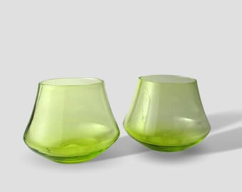 Transparent Green- Whisky Glass Set- Drinking Set of Two Hand Blown NEON Bright Moss Green