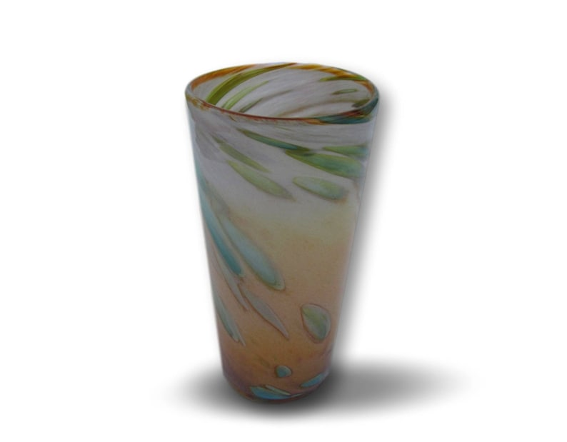 Hand Blown Pint Glass in Sunrise Colors image 0