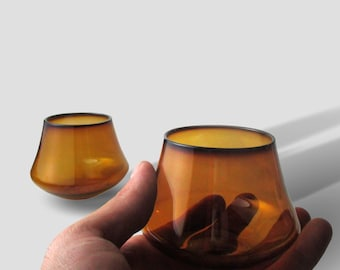 Amber Whiskey Glass Set of Two Drinking Glasses Tumblers Hand Blown Barware