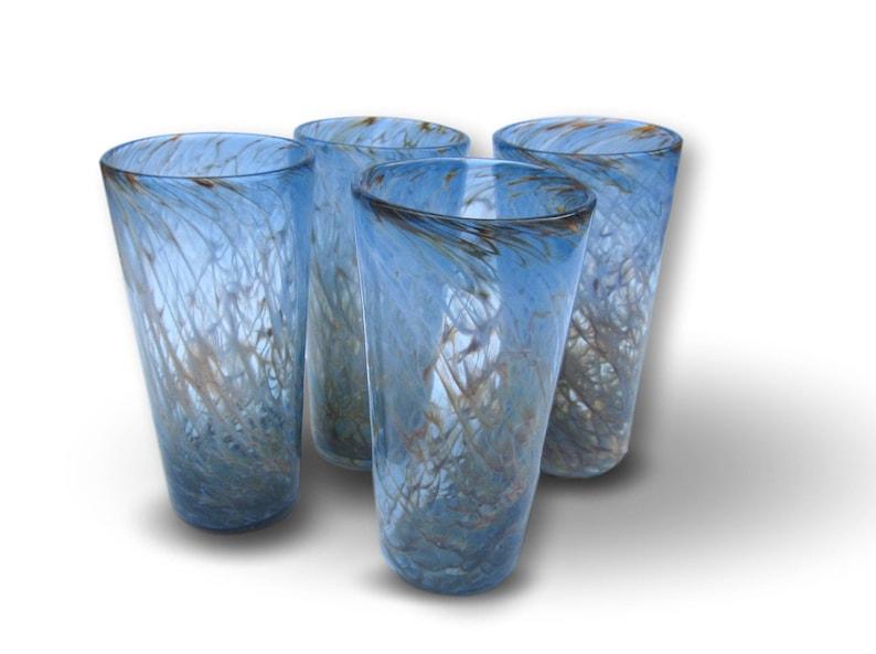 Sunset Pattern  Hand Blown Pint Glass Set image 0