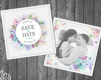 Watercolor Floral with Picture Save the Date - Digital File