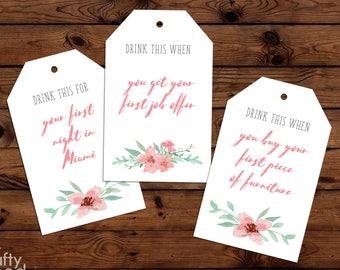 Custom Pink Floral Wine Tags - Digital File