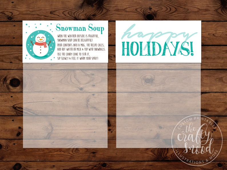 graphic about Snowman Soup Free Printable Bag Toppers called Snowman Soup (Scorching Cocoa) Bag Toppers (4-up) for 4\
