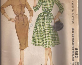 McCalls 5552 Misses  and Women's Dress With Slim or Full Skirt, Size 14, Bust 34, Vintage 1960