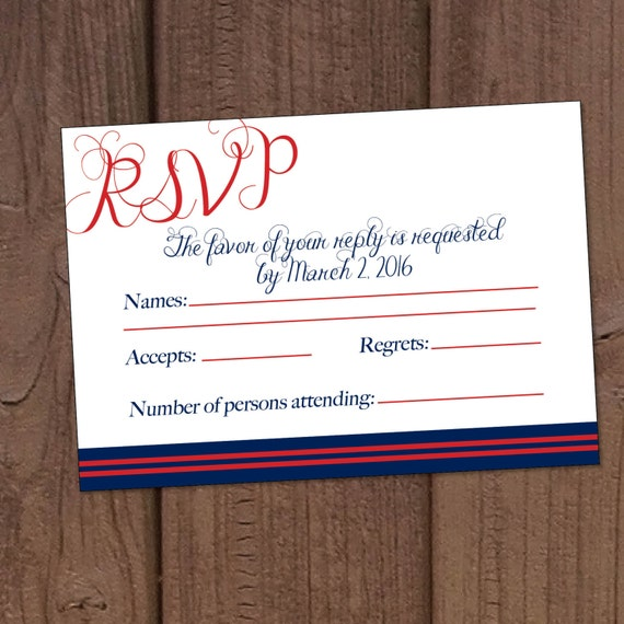 Marine Military Wedding Invitation RSVP Card