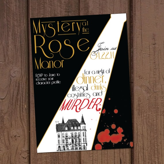 1920s murder mystery dinner party invitation stopboris Images