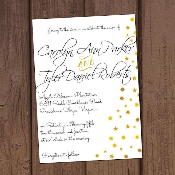 Star Themed Wedding Invitation Etsy