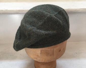 Dark Green Tam, Green Scottish Bonnet, Green Knit Beret, Green Alpaca Beret, Men's Green Tam, Men's Scots Tam, Highlander Bonnet, Unisex Tam