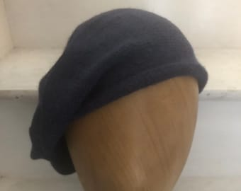 Navy Blue Highlander Bonnet, Soft Alpaca Knitted Tam, Men's Scottish Bonnet, Blue Highlander Beret, Balmoral Bonnet, Blue Re-Enactor Tam