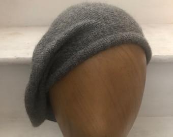 Grey Knitted Highlander Tam, Grey Alpaca Scottish Bonnet, Men's Scots Bonnet, Balmoral Bonnet, Grey Knit Beret, Highlander Hat for Men