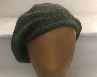 Dark Green Highlander Tam, Dark Green Scottish Bonnet, Men's Knit Green Tam, Deep Green Alpaca Bonnet, Men's Scottish Hat, Highlander Beret