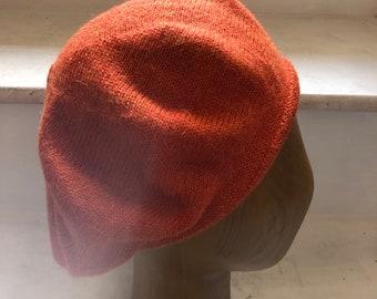 Burnt Orange Beret, Rust Alpaca Tam, Warm Orange Knitted Tam, Rust Scottish Tam, Unisex Rust Beret, Women's Orange Beret, Men's Orange Tam
