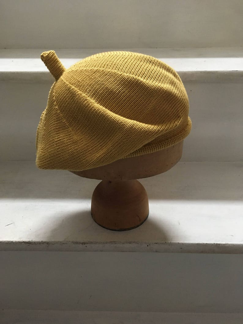 2acfd45c182aa Yellow Cotton Beret Naples Yellow Hat Mustard Beret Mustard