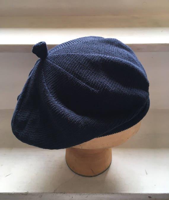 Navy cotton beret indigo knit tam women s cotton beret  1ceac518fc2