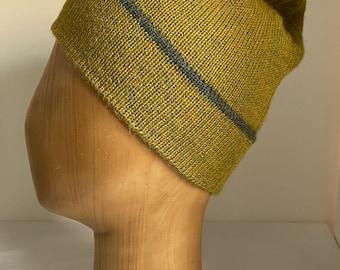 Yellow Green Beanie, Chartreuse Alpaca Toque, Unisex Green Beanie Hat, Knitted Alpaca Toque, Men's Green Beanie, Slouchy Beanie