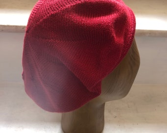 Red Knitted Alpaca Beret, Women's Red Tam, Red Scottish Tam, Crimson Knit Beret, Women's Knit Beret, Soft Red Beret, UK Beret