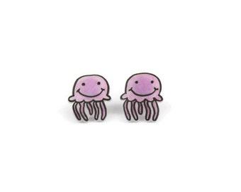 Pink Jelly Fish Earrings, Shrink Plastic, Surgical Steel Posts, Girls Earrings