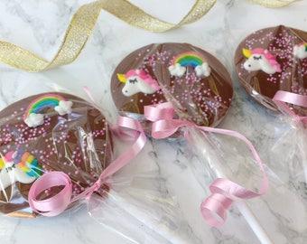 Unicorn chocolate lolly. Belgian chocolate. Rainbow. Lollipop. party favour. party bag