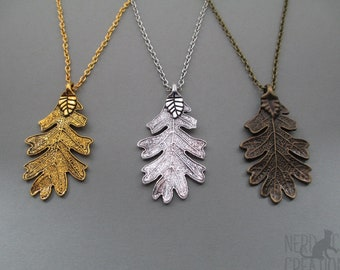 Ranger's Apprentice Oak Leaf Pendant, Leaf Necklace, Gifts for Readers, Bronze Silver Gold Oak Leaf Necklace, Halloween Costume Jewelry