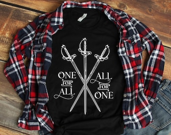 The Three Musketeers Crossed Swords All for One Unisex T Shirt, Literary Bookish Bookworm Reader Book Lover Gifts