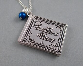 Once Upon a Time Story Book Charm Necklace - Silver Charm