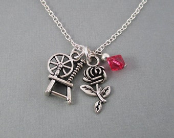 Rumplestiltskin and Belle Spinning Wheel and Rose Charm Necklace - Mr. Gold - Once Upon a Time - Rumbelle - Silver Charms